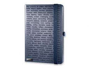 LANYBOOK THE ONE IV poznámkový zápisník s gumičkou 140x205 mm, modrý