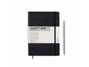 notebook medium a5 softcover 121 numbered pages squared black