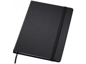 Poznámkový zápisník s gumičkou 127x179 mm, černý