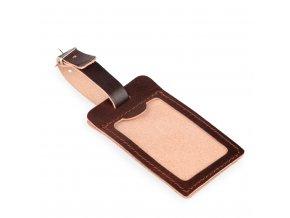 Kožená visačka na kufr 2912010 - hnědá
