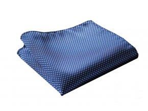 Hedvábný kapesníček modrý tečkovaný
