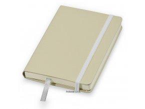 Poznámkový zápisník A6 s elastickou zajišťovací páskou, béžový