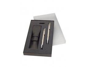 Lamy logo Brushed Steel, sada + kožené pouzdro