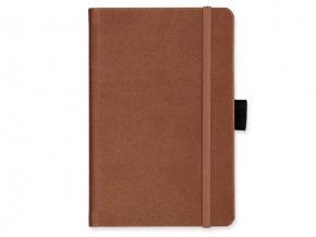 LANYO II poznámkový zápisník s gumičkou 132x213 mm, světle hnědá