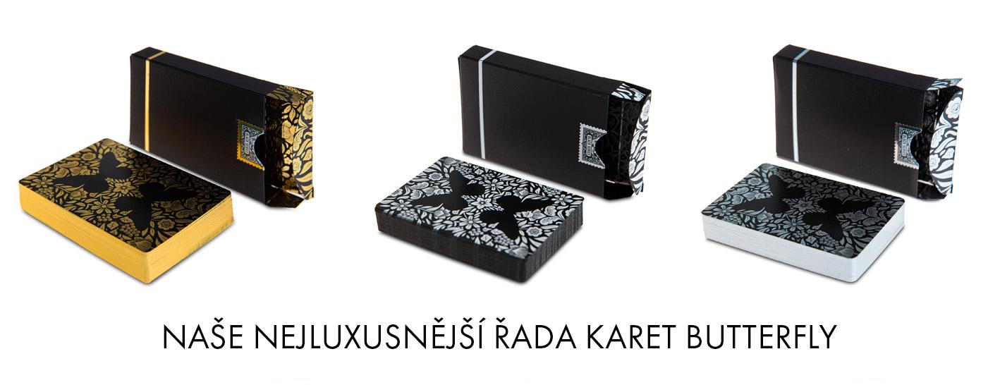 Karty Butterfly Playing Cards Black značené - zlaté, stříbrné a bílé - černozlaté, černostříbrné, černobílé
