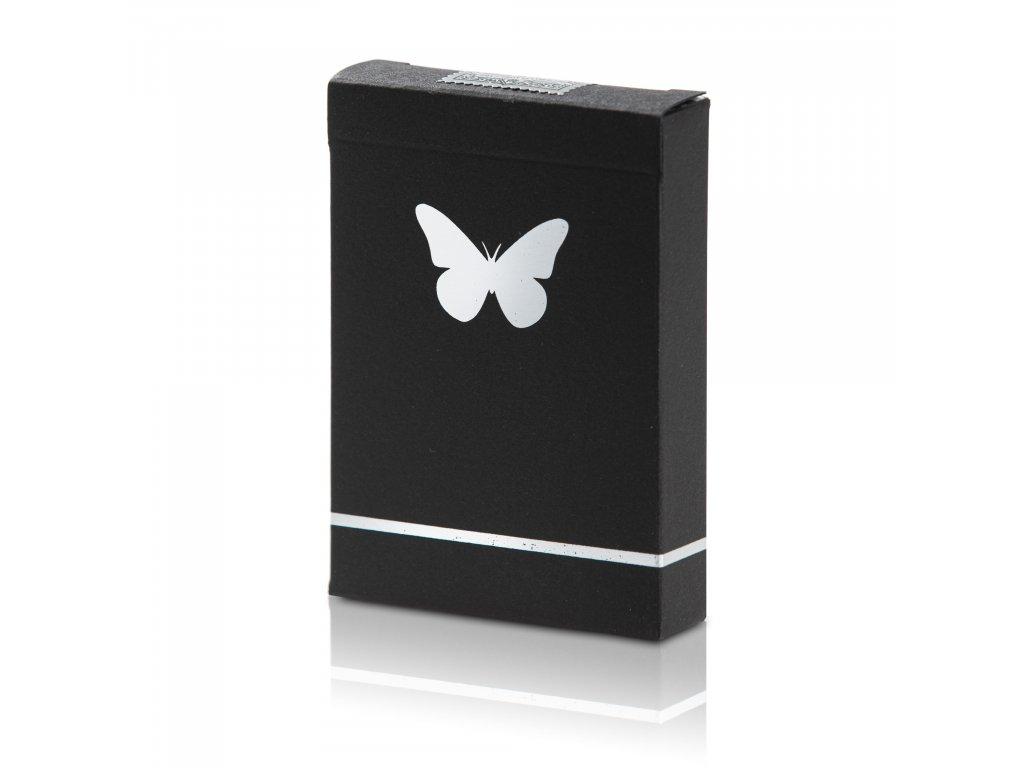 Karty Butterfly Playing Cards černo-stříbrné