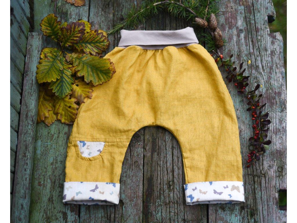 Lněné kapsičkové žluté