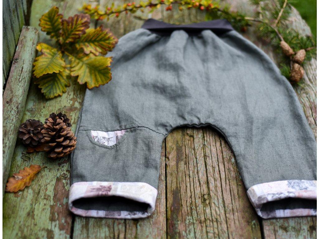 Lněné kapsičkové khaki