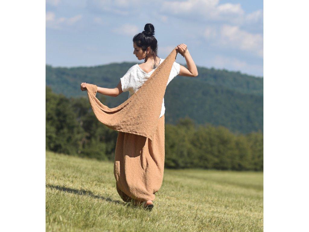 Šátek z vyšívaného mušelínu - Camel
