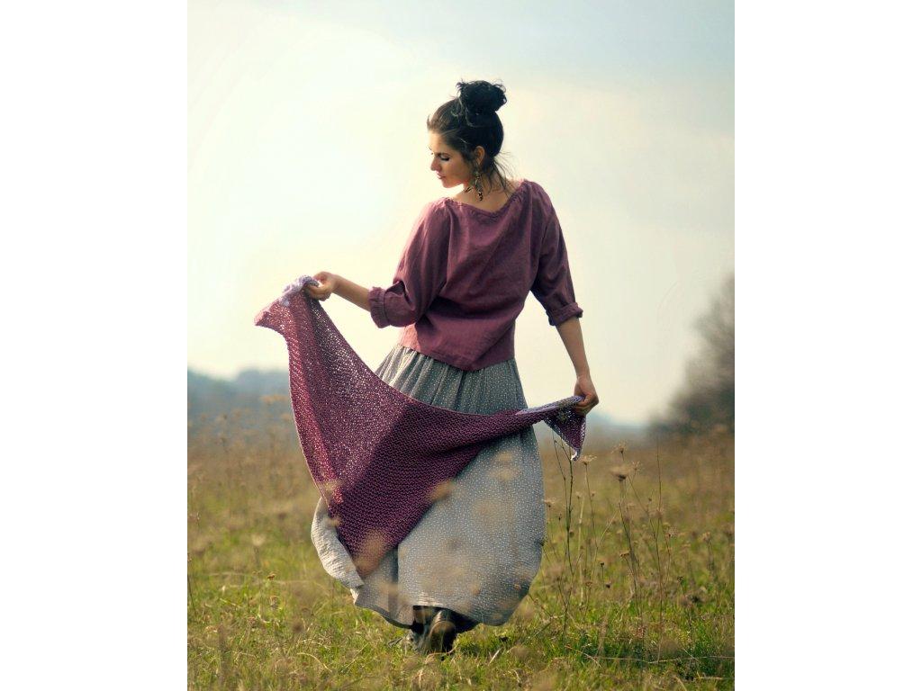 Maxi sukně z mušelínu - šedá puntíčková