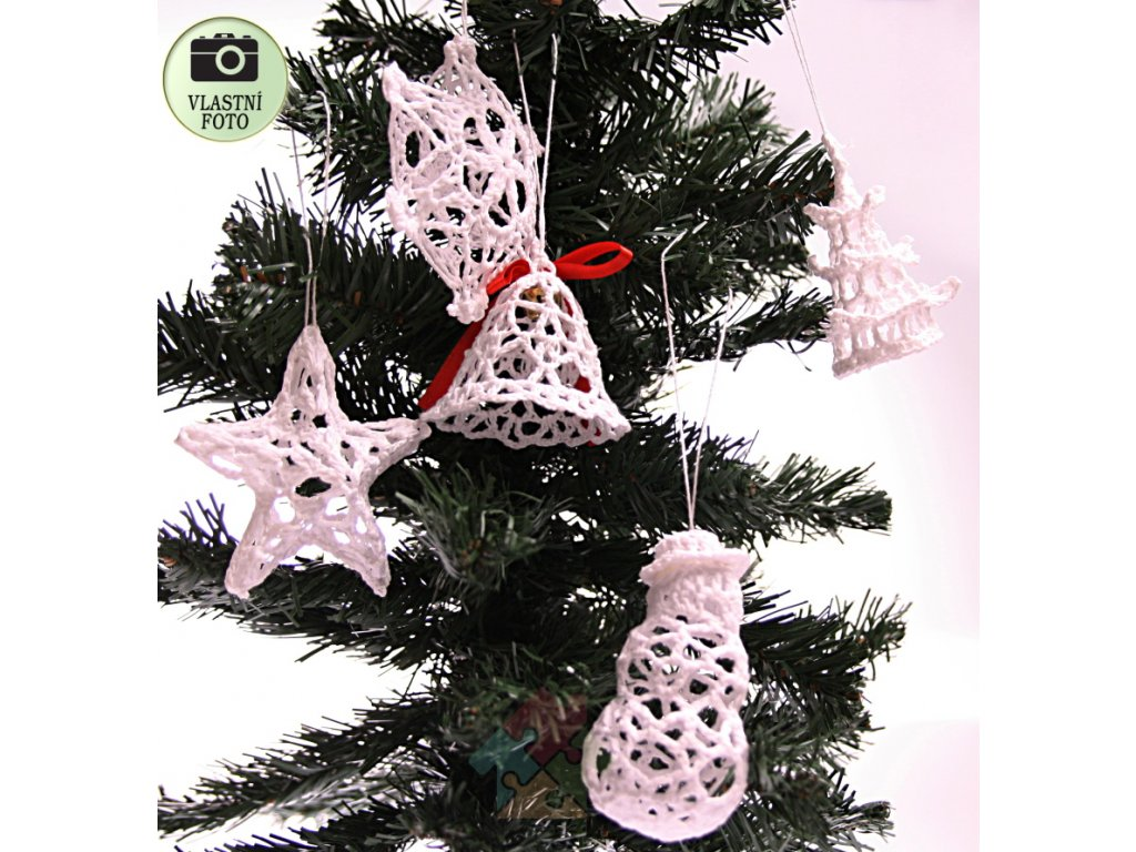 vánoční háčkované ozdoby sada