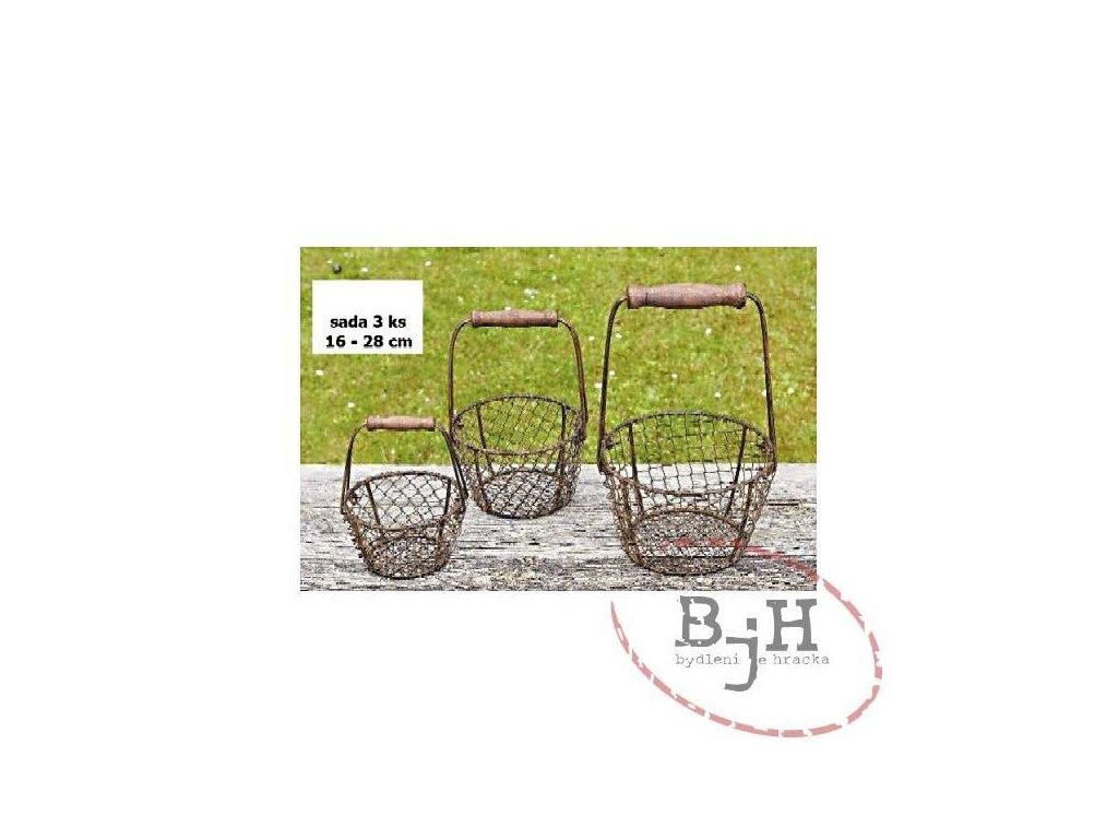 Drátěný košík - sada 3 kusů