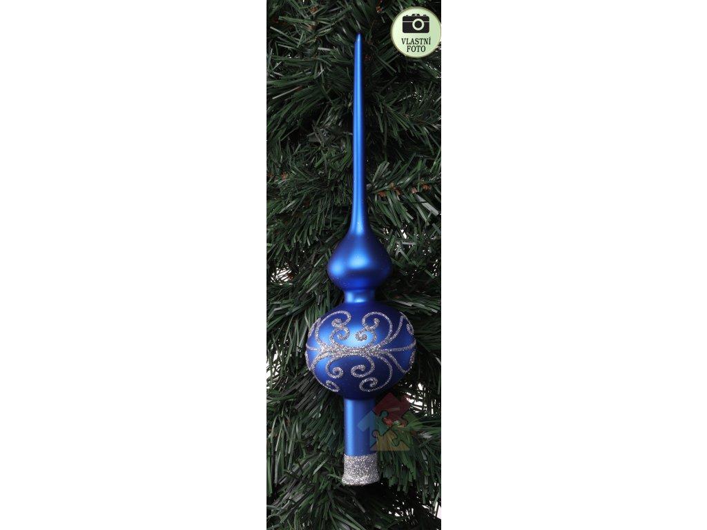 špice na vánoční stromeček modrá