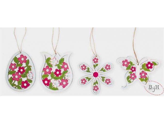 Jarní dekorace na zavěšení - sada 4 kusů