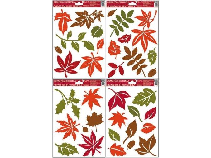 Podzimní okenní dekorace listy