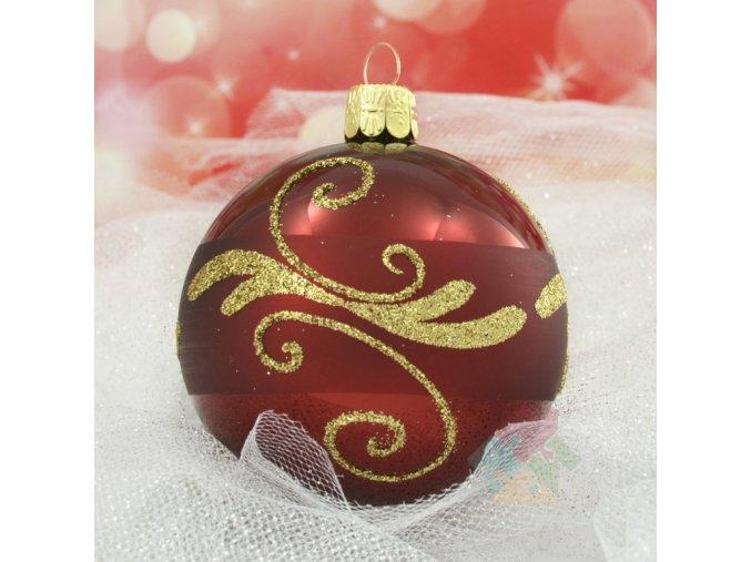 skleněné vánoční ozdoby bordó