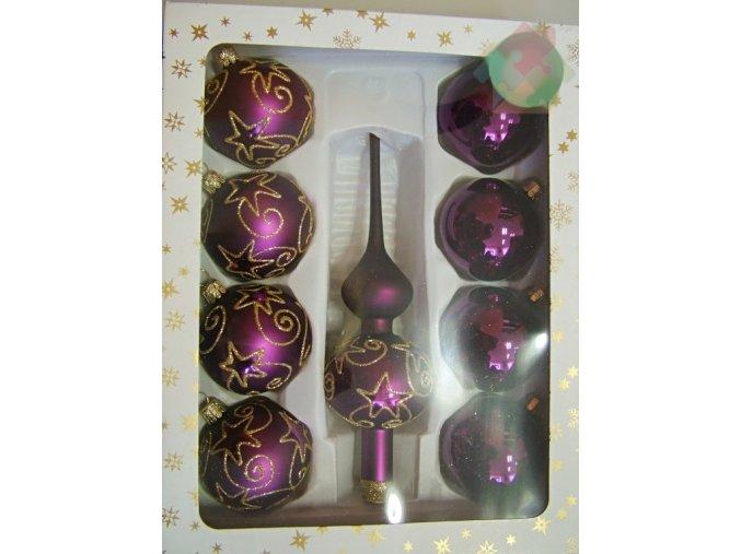vánoční skleněné ozdoby fialové