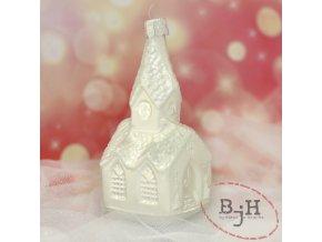 Vánoční skleněná ozdoba kostelík s věžičkou