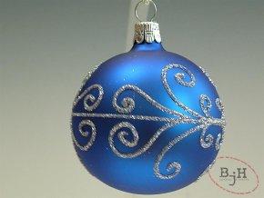 Vánoční skleněné baňky modro stříbrné