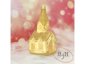 Skleněná vánoční ozdoba zlatý kostel s věžičkou