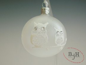 Skleněné vánoční ozdoby se sovami