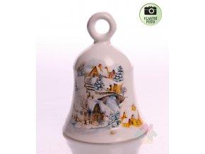 Keramický zvoneček se zasněženou vesnicí