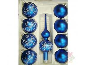 skleněné vánoční ozdoby modré