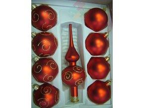 skleněné vánoční ozdoby červené