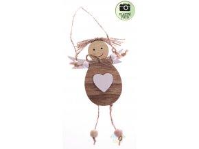 dřevěný andílek se srdcem