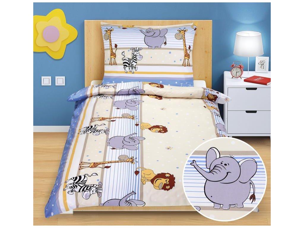 Bellatex Dětské povlečení bavlna Junior 1 ks 140x200 cm + 1 ks 70x90 cm safari modré, zip