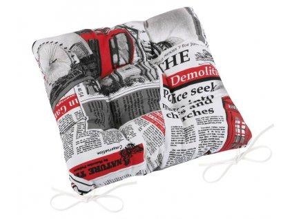 Bellatex Sedák EMA prošívaný 40x40 cm noviny černá, červená