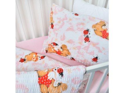 31955 stanex detske povleceni bavlna 1 ks 90x135 cm 1 ks 45x65 cm berusky ruzove knofliky