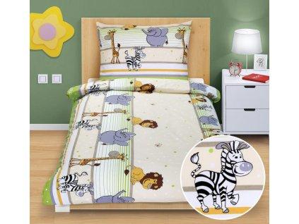 Bellatex Dětské povlečení bavlna Junior 1 ks 140x200 cm + 1 ks 70x90 cm safari sv.zelená, zip