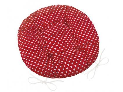 Sedák Adéla prošívaný kulatý průměr 40 cm červená srdíčka