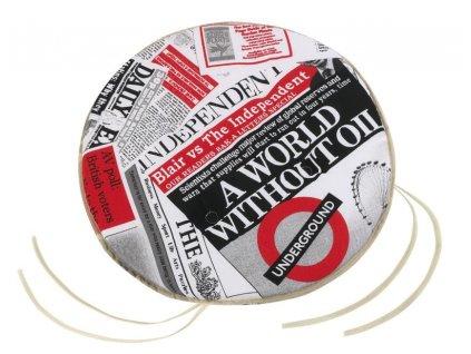 Sedák EMA kulatý hladký průměr 40 cm noviny červené