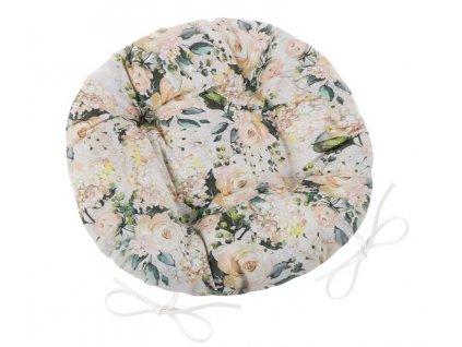 Sedák EMA kulatý prošívaný průměr 40 cm vanilková růže