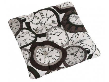 Sedák BERTA prošívaný 38x38 cm, prošívaný hodiny hnědé