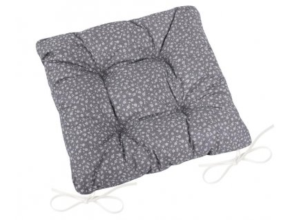 Sedák Adéla prošívaný 40x40 cm, prošívaný šedý kvítek