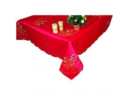 Ubrus vánoční vyšívaný Dva zvonky červený, výběr rozměru (Velikost 120 x 140cm)