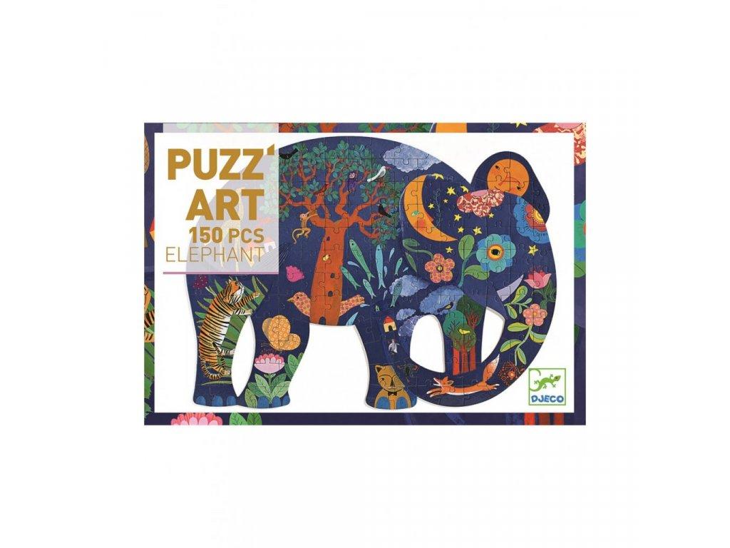 Umělecké puzzle Slon - 150 dílků