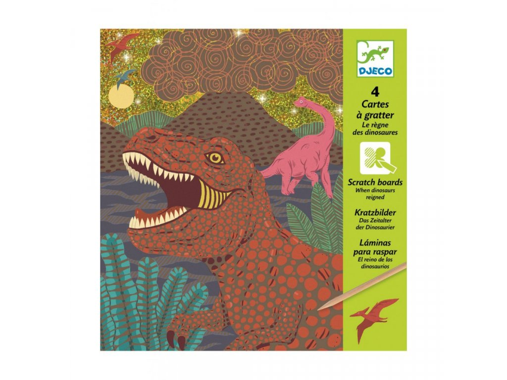 Vyškrabávací obrázky Dinosauři