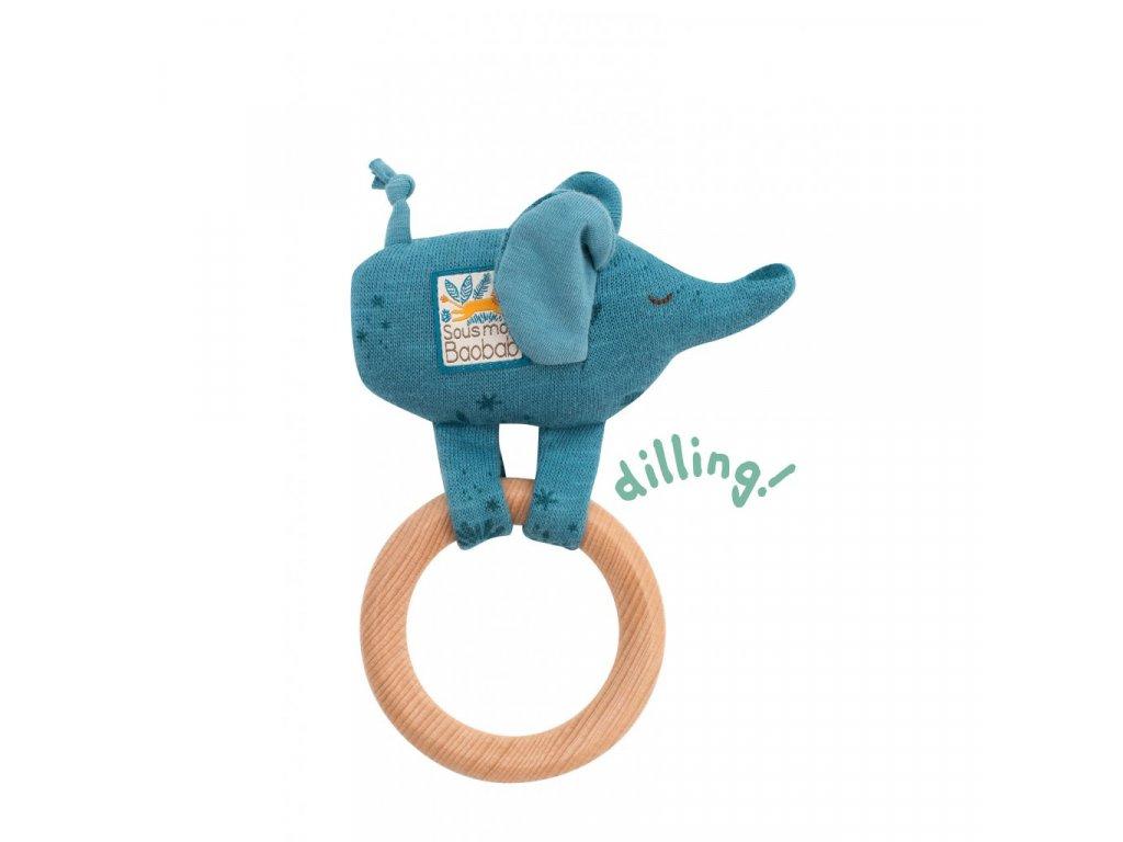 Chrastící sloník s dřevěným kroužkem