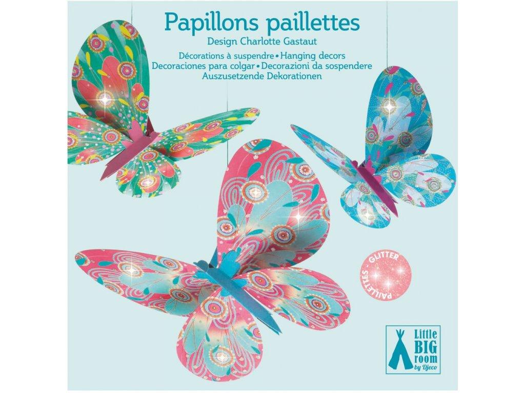 Třpytivá dekorace Létající motýlci