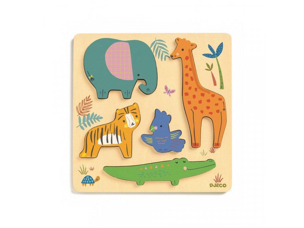 Zvířátka v jungli  vkládací dřevěné puzzle
