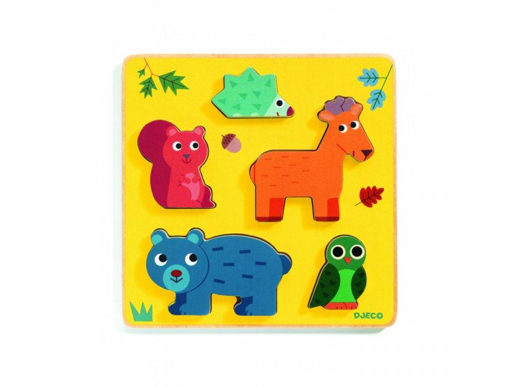 Jelínek a kamarádi z lesa dřevěné vkládací puzzle