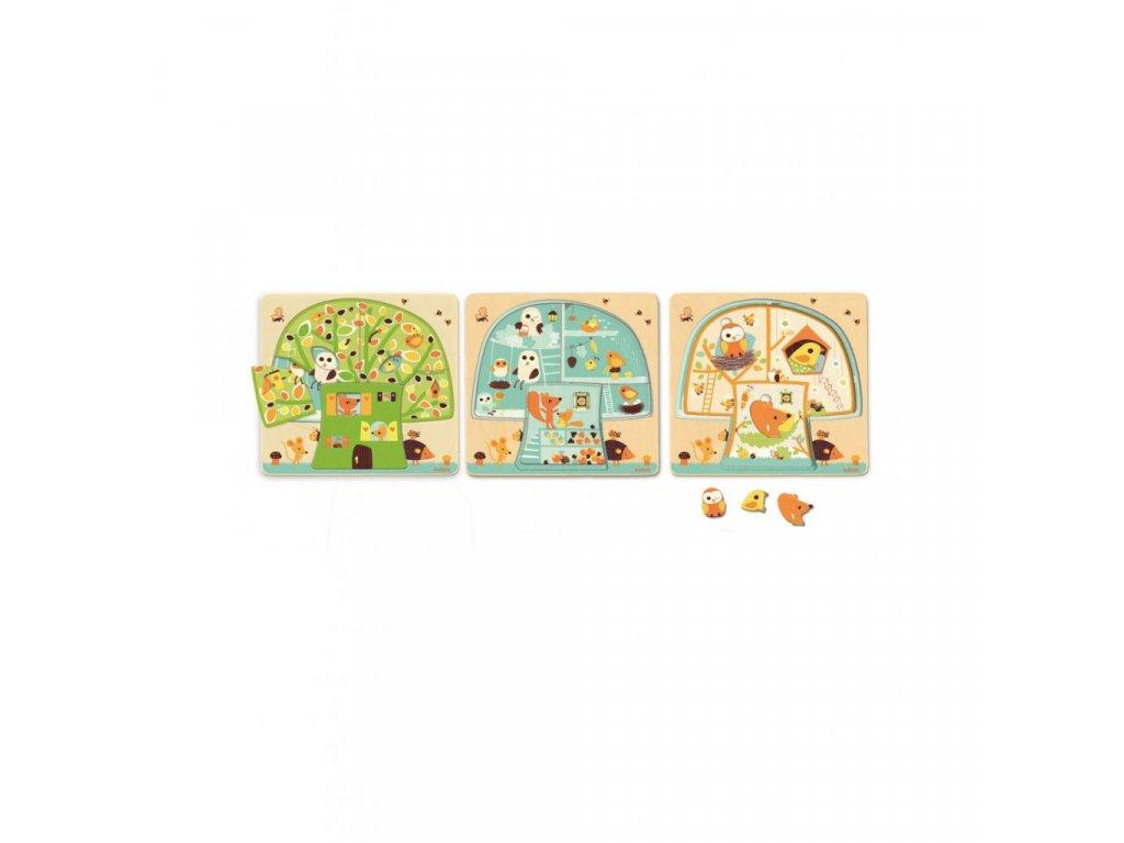 Třívrstvé puzzle Veverčí domeček