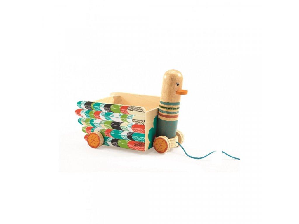 Malovaný tahací vozík kachnička