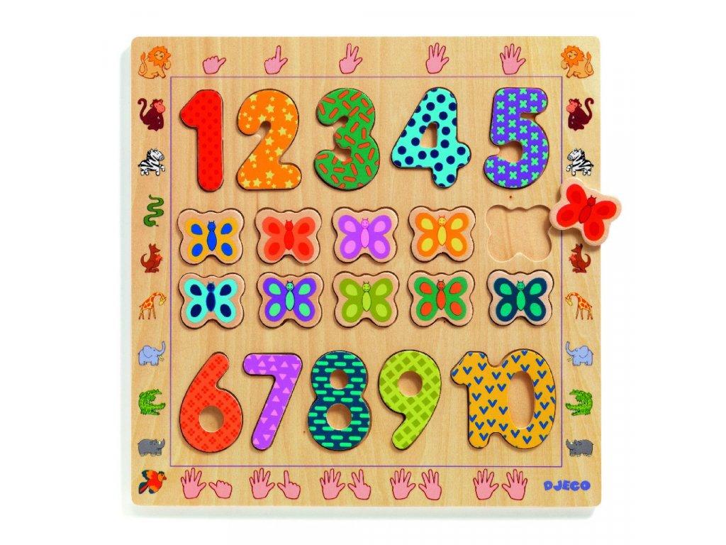 Vkládací puzzle Počítaní s motýlky