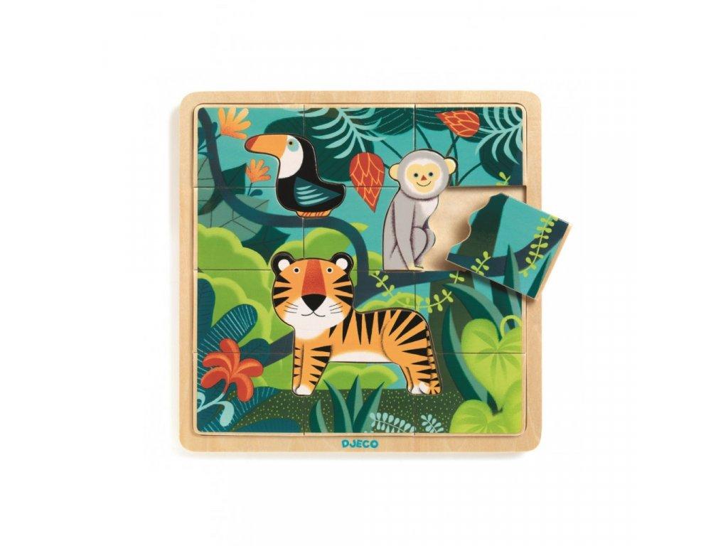 Dřevěné puzzle Tygr a přátelé