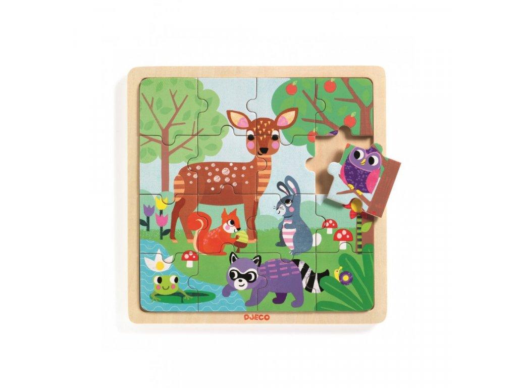 Dřevěné puzzle Lesní zvířatka